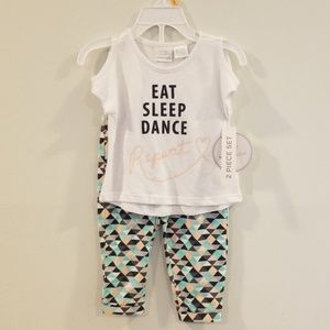 🎉 NWT 2 piece set eat sleep dance repeat